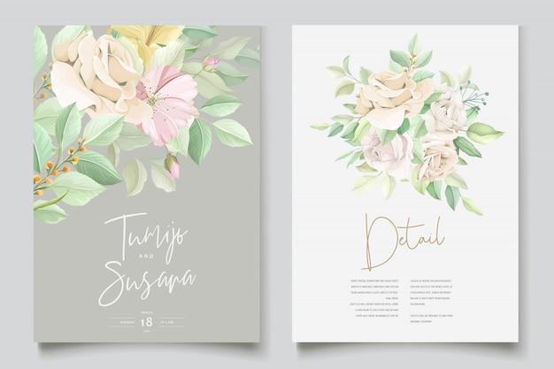 Bella carta di invito matrimonio floreale morbido e foglie