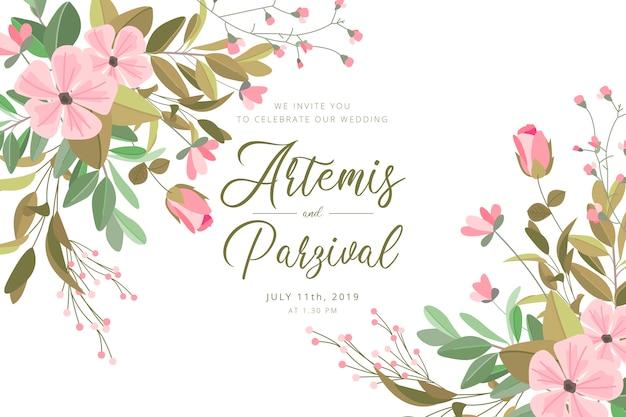 Bella carta di matrimonio con fiori e foglie
