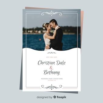 Bella carta di matrimonio con foto