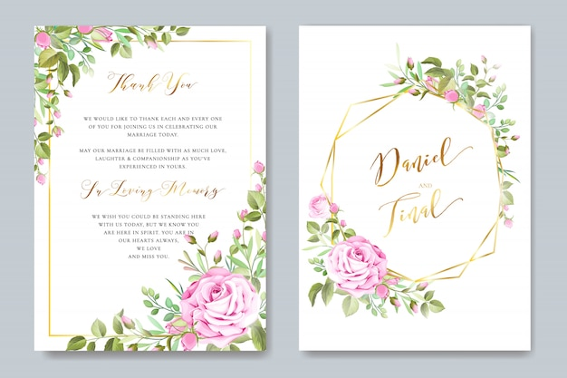 Bella carta di matrimonio e invito con cornice floreale e foglie