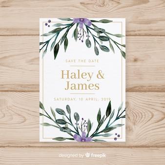 Bella carta di nozze ad acquerello con stile floreale