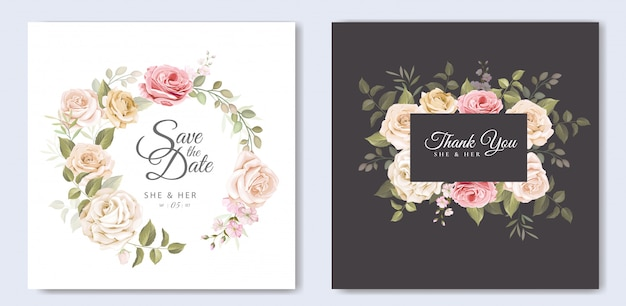 Bella carta di nozze con modello floreale e foglie