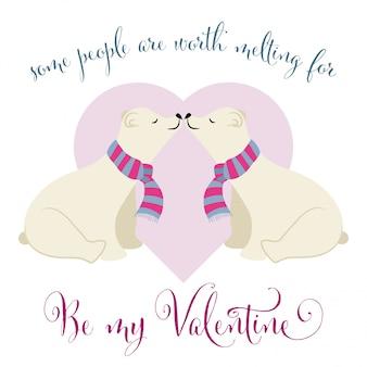 Bella carta di san valentino con coppia di orsi polari