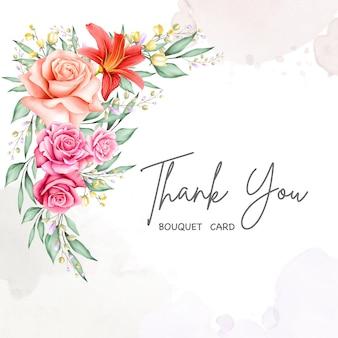 Bella carta floreale con messaggio di ringraziamento