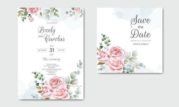 Bella carta floreale disegnata a mano dell'invito di nozze
