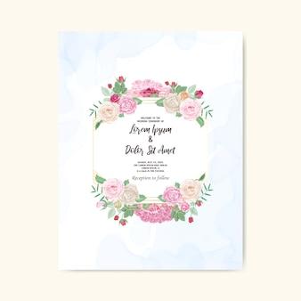Bella carta floreale e modello dell'invito di nozze