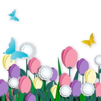 Bella carta floreale tagliata