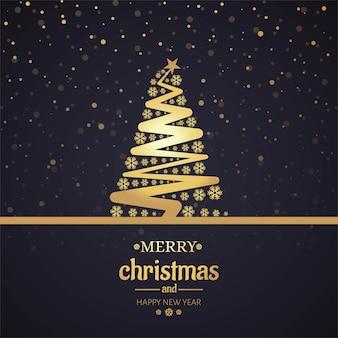 Bella cartolina di buon natale con la priorità bassa dell'albero
