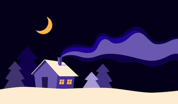 Bella casa alla notte nell'illustrazione piana di vettore di stile del fumetto di stagione invernale