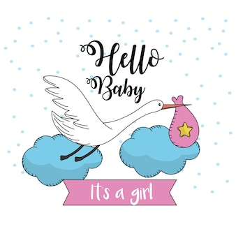 Bella cicogna con borsa per baby shower card