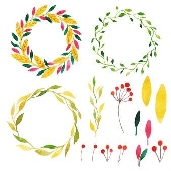 Bella collezione autumn wreath dell'acquerello