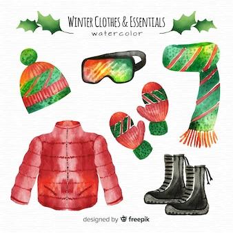 Bella collezione di abiti invernali ad acquerello