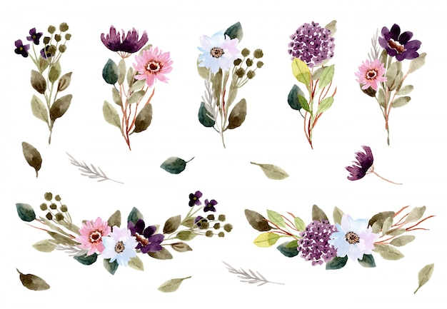 Bella collezione di acquerelli di bouquet di fiori