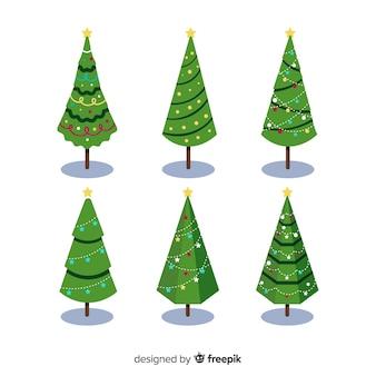 Bella collezione di alberi di natale con design piatto