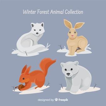 Bella collezione di animali della foresta invernale