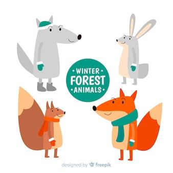 Bella collezione di animali della foresta