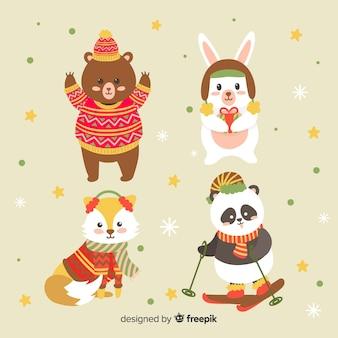 Bella collezione di animali invernali