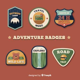 Bella collezione di badge di avventura