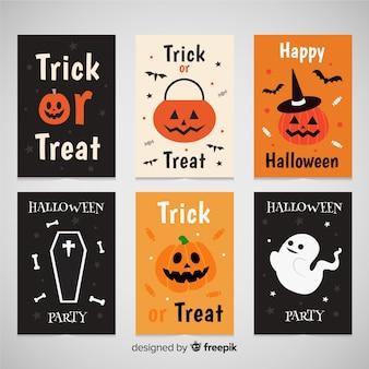 Bella collezione di biglietti d'auguri di halloween