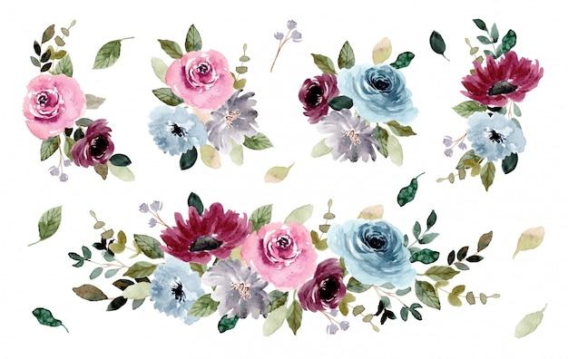 Bella collezione di bouquet di acquerelli da giardino fiorito