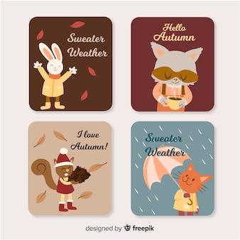 Bella collezione di carte autunnali con simpatici animali