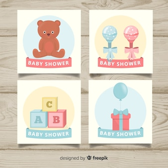 Bella collezione di carte da baby shower con design piatto