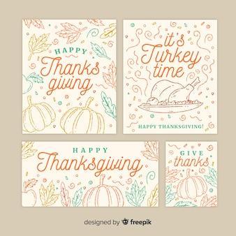 Bella collezione di carte di ringraziamento disegnata a mano