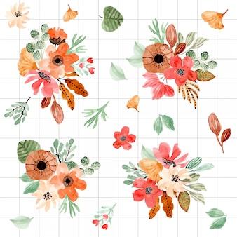 Bella collezione di composizione floreale dell'acquerello