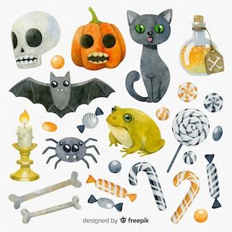 Bella collezione di elementi di halloween dell'acquerello