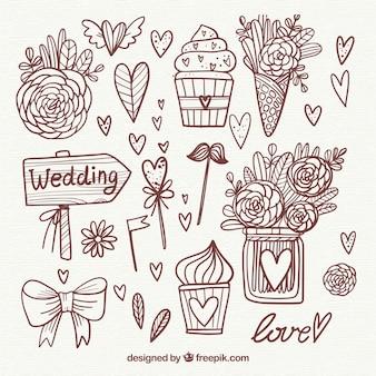 Bella collezione di elementi di nozze disegnati a mano