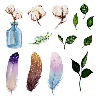 Bella collezione di elementi floreali dell'acquerello