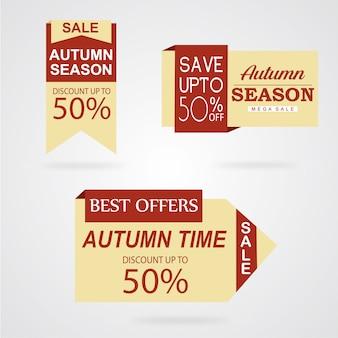 Bella collezione di etichette autunno acquerello