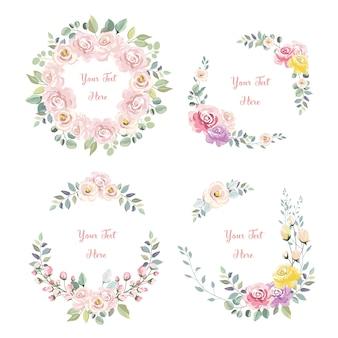 Bella collezione di ghirlande di fiori rosa per la celebrazione