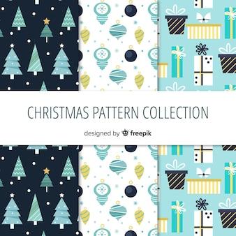 Bella collezione di motivi natalizi con design piatto