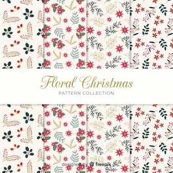 Bella collezione di motivi natalizi con stile floreale
