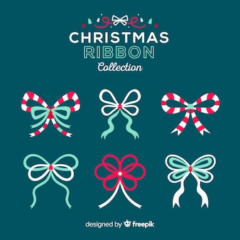 Bella collezione di nastri natalizi con design piatto