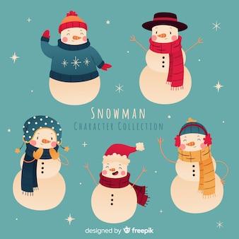Bella collezione di personaggi di pupazzi di neve