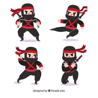 Bella collezione di personaggi ninja con design piatto