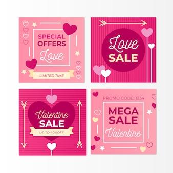 Bella collezione di post di instagram di vendita di san valentino