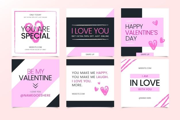 Bella collezione di post instagram di san valentino
