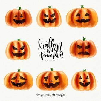 Bella collezione di zucca di halloween dell'acquerello