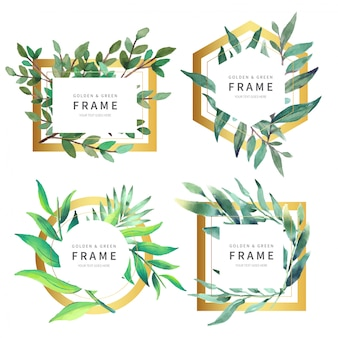 Bella collezione golden frame con foglie selvatiche