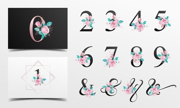 Bella collezione nunber di alfabeto con decorazione floreale dell'acquerello