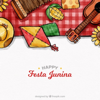 Bella composizione acquerello festa junina