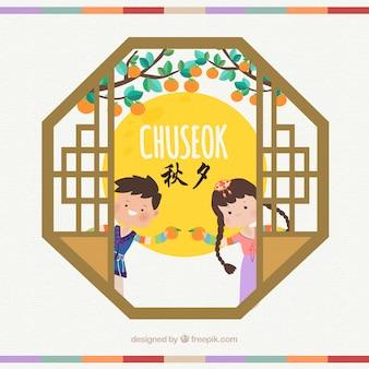 Bella composizione chuseok con design piatto