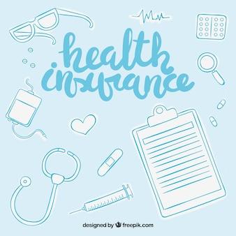 Bella composizione con elementi di assicurazione sanitaria