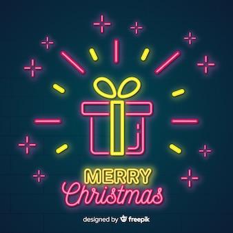 Bella composizione natalizia con luce al neon