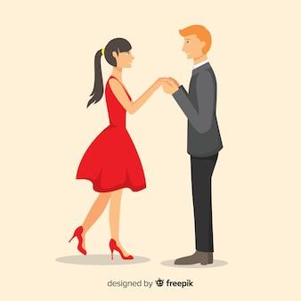 Bella composizione proposta di matrimonio con design piatto