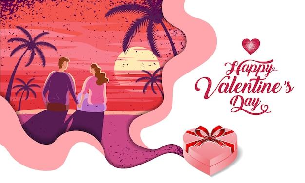 Bella coppia, san valentino, festival, paesaggio di sfondo, layout di progettazione di banner