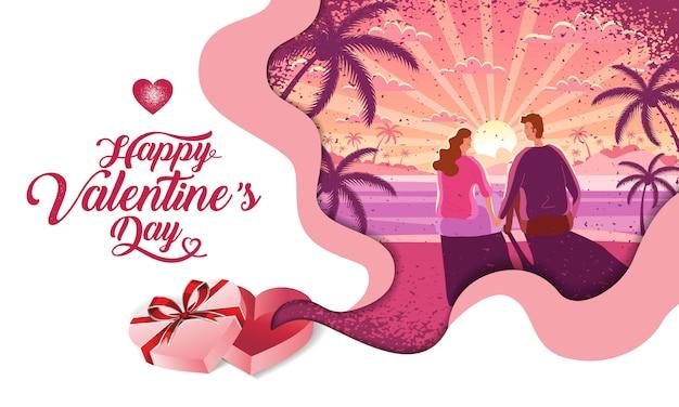 Bella coppia, san valentino, festival, sorgere del sole paesaggio di sfondo, layout design banner